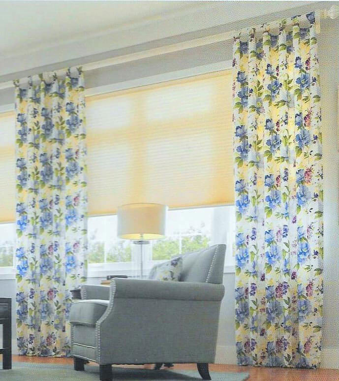 floral curtains in living room