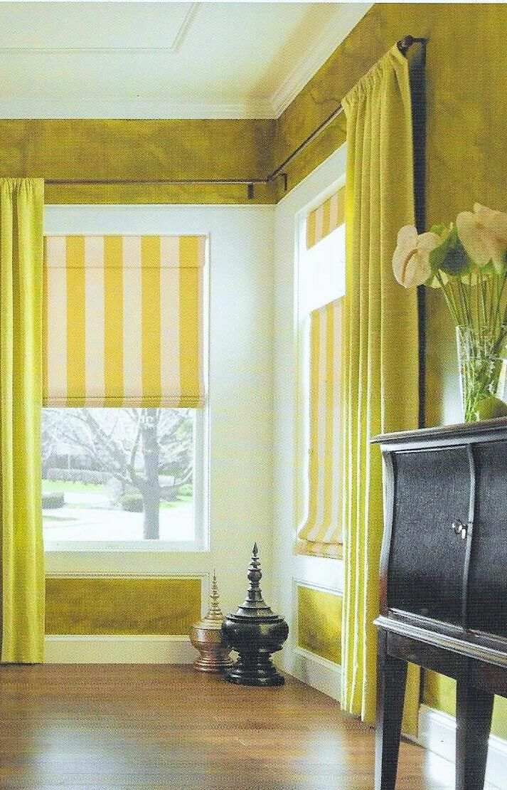 yellow and white striped curtains in living room