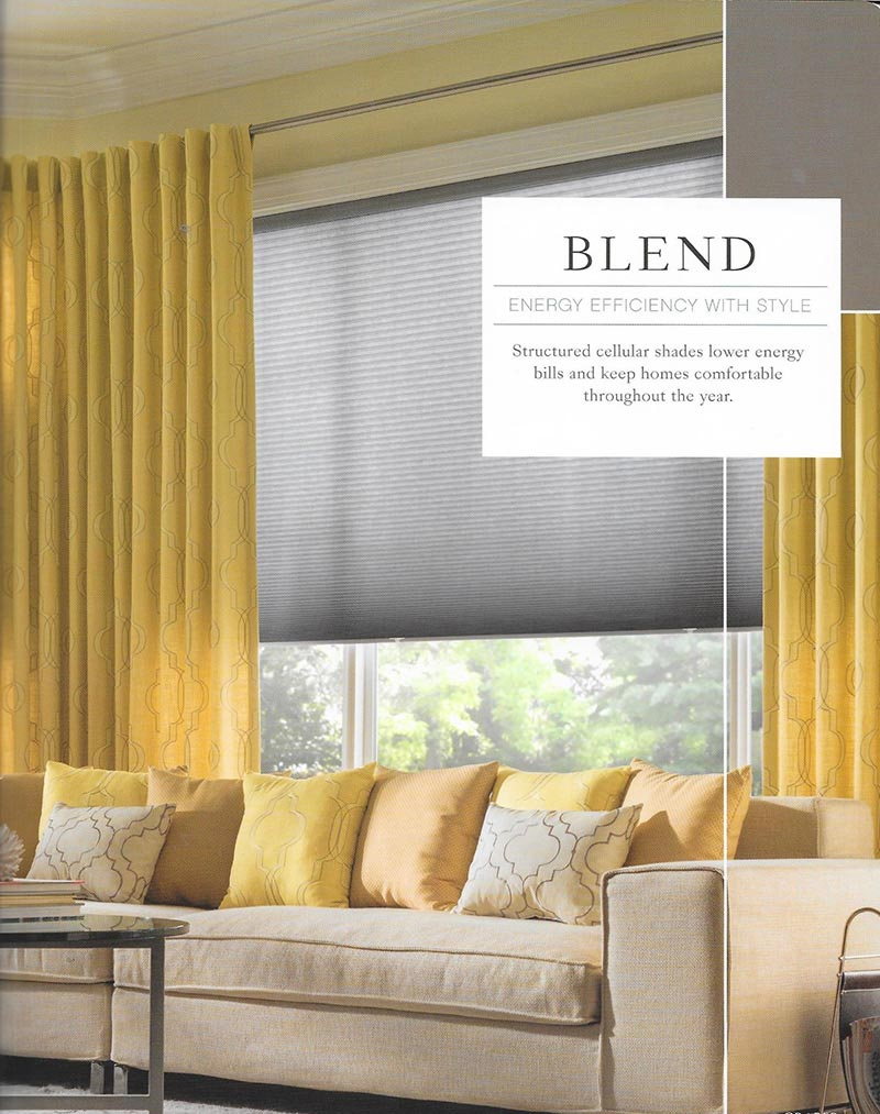 modern bright living room with yellow curtains and accordion shades