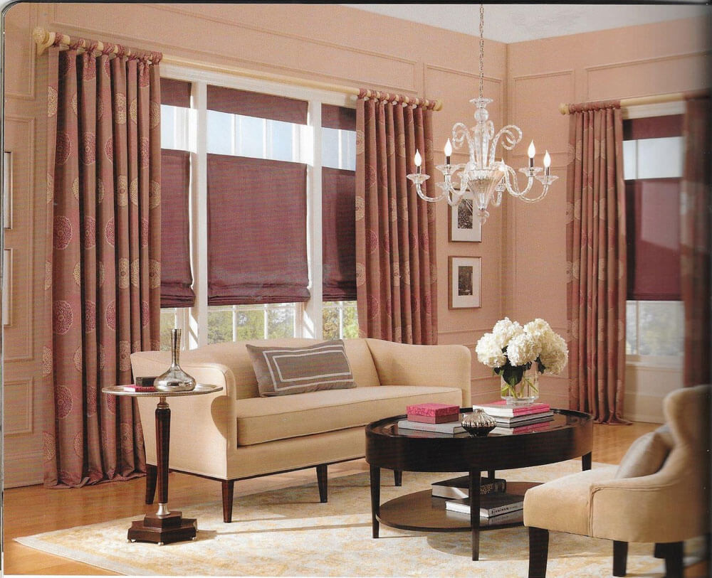 classic living room with floor to ceiling patterned curtains